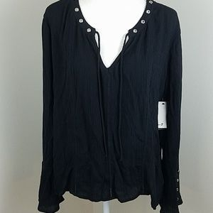 NWT! Seven7 Black Sz Sm Long Sleeve Peasant Top